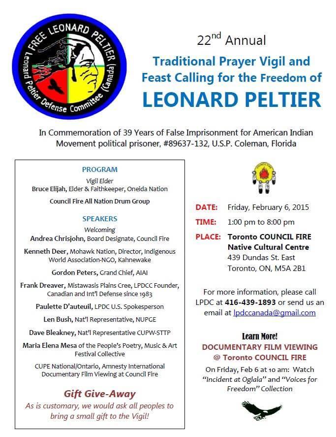 Flyer_Council Fire_LPDCC_Feb 6 2015 22nd Annual Peltier Vigil