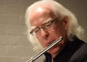 Robert Aitken with flute March 1, 2015 (Photo credit Daniel Foley)