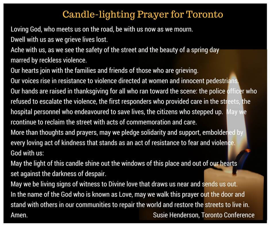 Candle Lighting Prayer For Toronto By Susie Henderson