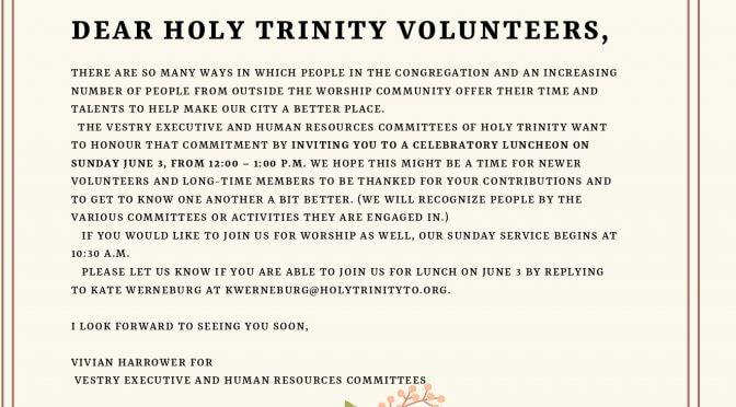 Volunteer Appreciation Lunch: Sunday, June 3