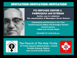 Dispossession and Exclusion in Our Time: Celebration of Msgr. Oscar Romeo's Canonization @ Church of the Holy Trinity